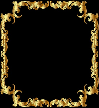 illustration frame from gild with pattern on black background Vector