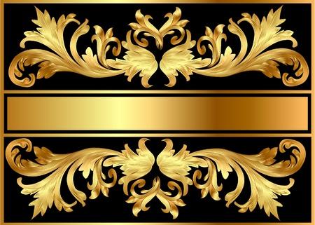 bilderrahmen gold: Abbildung Muster Hintergrund-Rahmen aus g�ltigen auf schwarzem Hintergrund Illustration