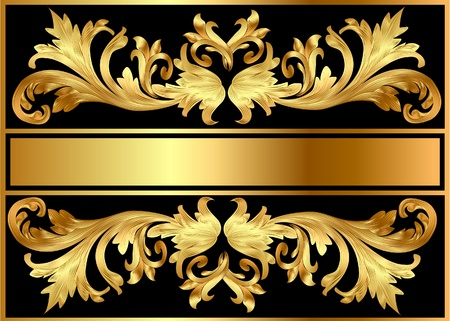 golden frames: illustration pattern background frame from valid on black background