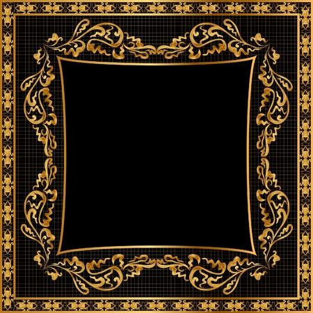 illustration frame background gold(en) pattern on black Stock Vector - 9945755
