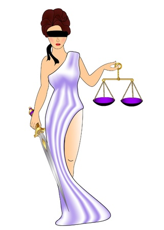 lady justice:  illustration woman goddess of the justice with weight and mosque