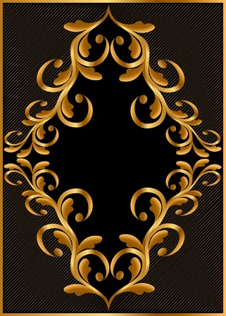adornment:  illustration gold(en) frame with pattern and hatch Illustration
