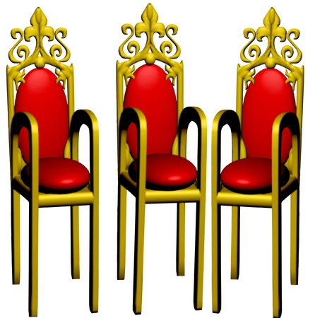 inwardly: three chairs of the red colour, costing semicircle is insulated on white background.
