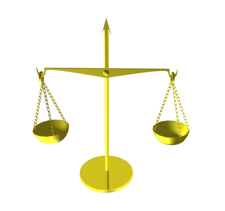 juror: gold(en), old-time scales, insulated on white. Stock Photo