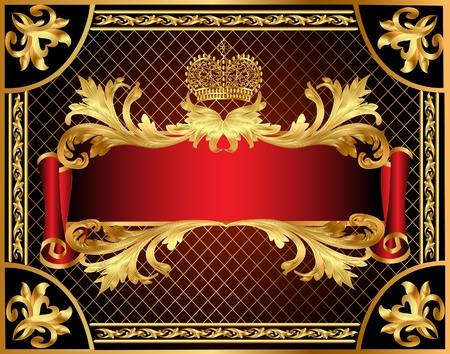scroll border:  illustration background gold  with pattern and net