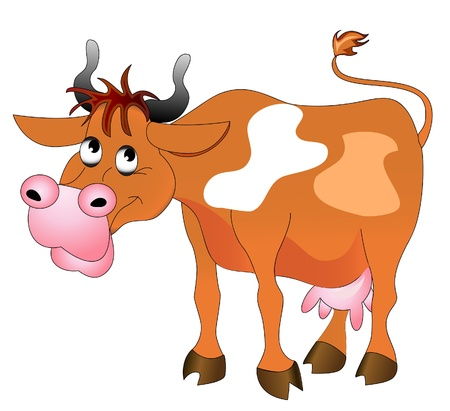 illustration merry cow insulated on white background