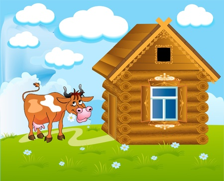 beautiful cow: illustration merry cow with flower near by house on nature