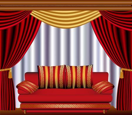 kleedkamer: illustratie jaloezieën met een cyste en een sofa Stock Illustratie