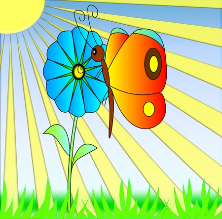 the bright butterfly on flower with sheet  Stock Photo - 10089109