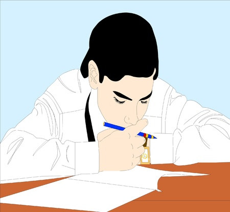 inwardly: the young person was conceived on hard nut to crack on exam. the emotion of the stress.