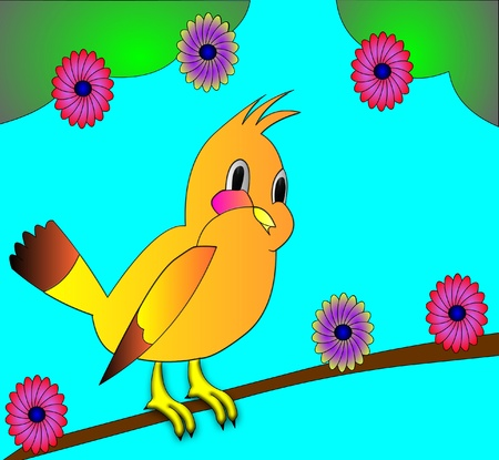 flowerses: the birdie on branch with colour on background blue sky.