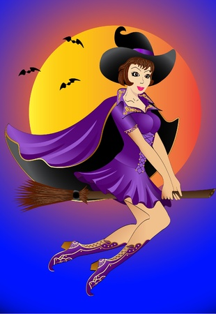 sexy illustration witch flying on a broomstick Stock Vector - 10089110