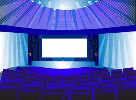 premises:  illustration premises blue theater with screen and chair