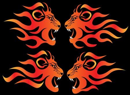 red head:  set illustration infuriated lion in fire on black Illustration