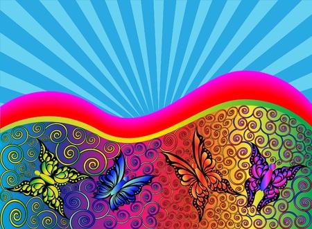 Fondo de ilustración con patrón y mariposa