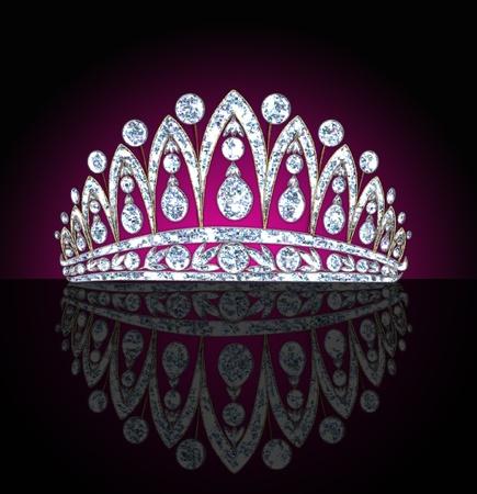 corona de princesa:  diadema de ilustración femenina con reflexión sobre fondo negro iluminado Foto de archivo