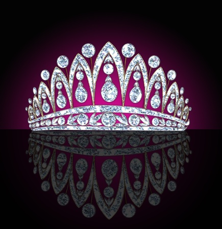 princess crown:  illustration diadem feminine with reflection on black lighted background