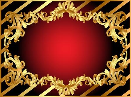 cadre en or avec motif illustration et la bande Illustration