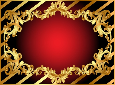 illustration gold frame with pattern and band Vector