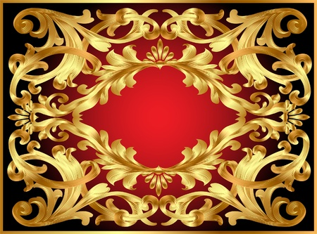 illustration background frame with gold  pattern Vector