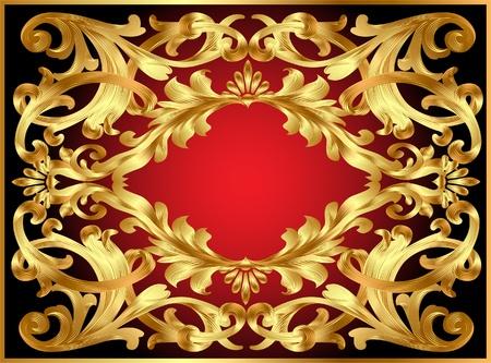 illustration background frame with gold  pattern Vector
