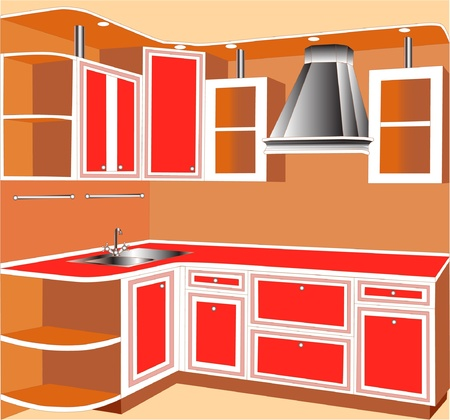 furniture for interior of the kitchens of the red color. Stock Vector - 10181390