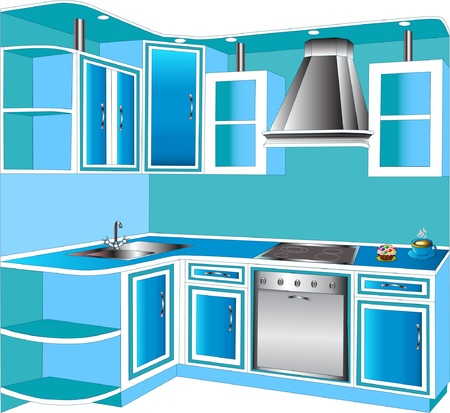stainless steel kitchen: furniture for interior of the kitchens of the blue color. Illustration