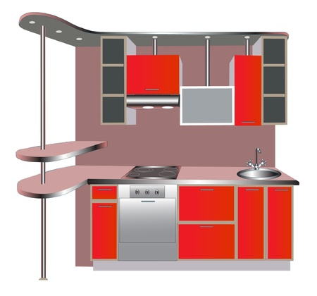 stainless steel kitchen: furniture for interior of the kitchens of the red color. Illustration