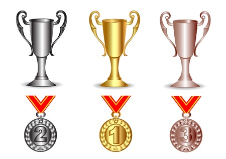 podium: illustration gold, silver, bronze cup and medals insulated in white