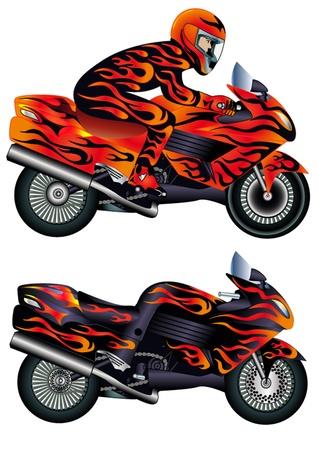 illustratie snelheid motorfiets met persoon en brandende schilder