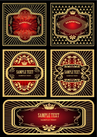 illustration label red with black gold and pattern Stock Vector - 10181394