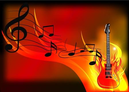 lägereld: musik bakgrund med gitarr och brand illustration Illustration