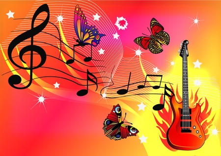 butterfly background: illustration music background with guitar butterfly and fire