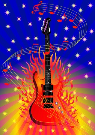 illustration music background with guitar and fire Vector