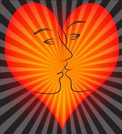 enamorados caricatura: corazón de ilustración en él beso de la chica y los jóvenes Vectores