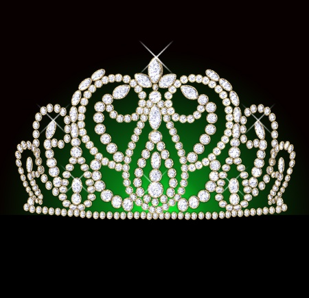 diadem feminine with reflection on black translucent green background Stock Photo - 10227070