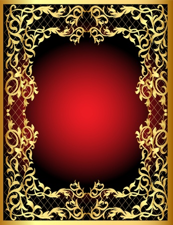illustration vegetable winding gold  pattern frame Vector
