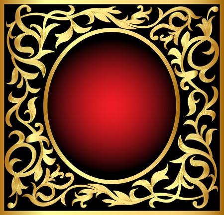 red rose black background: illustration vegetable winding gold  pattern frame