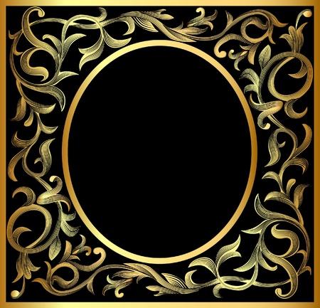 illustration vegetable winding gold(en) pattern frame Vector