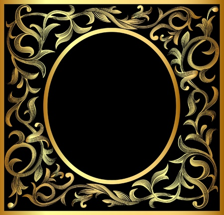rose frame: illustration vegetable winding gold(en) pattern frame Illustration