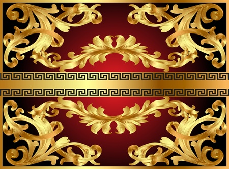 illustration background with gold pattern and revenge for text Stock Vector - 10285162