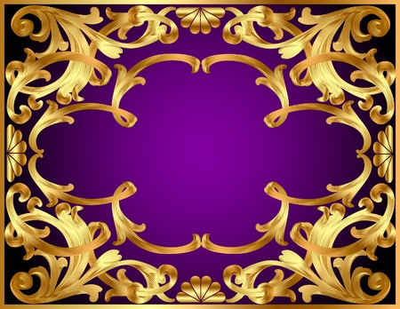 illustration background with gold(en) pattern and revenge for text Vector