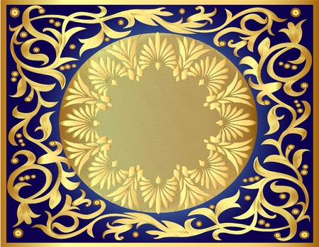 illustration background with gold  pattern and revenge for text Vector