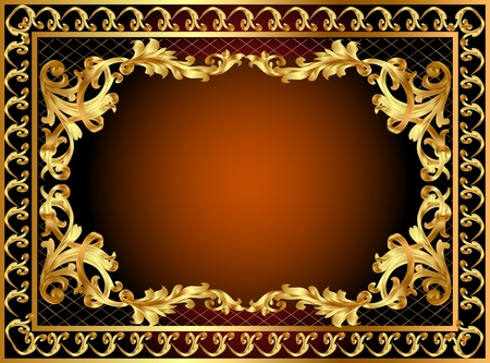 medieval banner: illustration gold frame with pattern and band Illustration