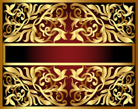 illustration background with gold pattern and revenge for text Stock Vector - 10347273
