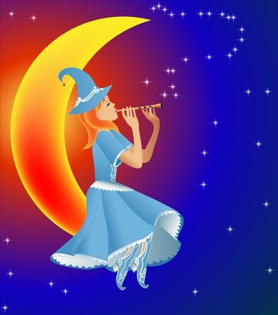 illustration fairy plays on flute tune stars