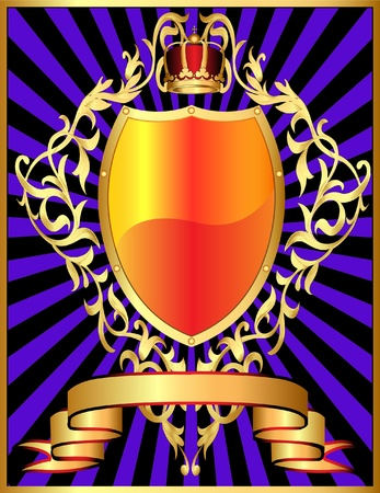 illustration shield with corona and gold pattern in ray Vector