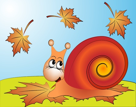 illustration amusing snail on ed sheet by autumn Vector