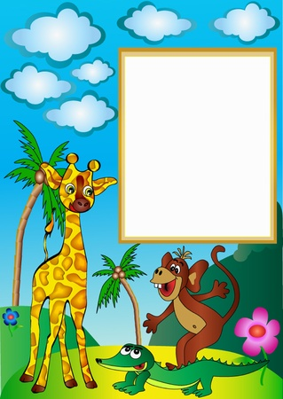 illustration frame with palm by giraffe by ape and crocodile Stock Vector - 10359318