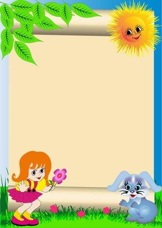 enfant fond illustration � la fleur et le lapin Illustration